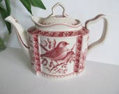 Red Transfer ware Teapot English Teapot Victorian Transferware Red TeaPot  Bird Pattern Antique Teapots With Roses