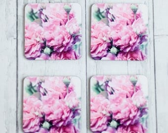 coasters - pink roses