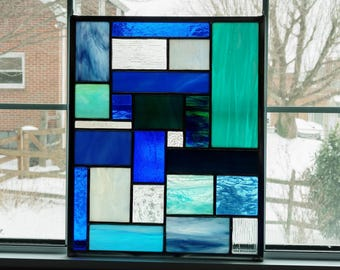 Blue Geometric Stained Glass Panel - Stained Glass Window - Suncatcher - Privacy Screen - Garden Art Decor- Abstract Art - Birthday Gift