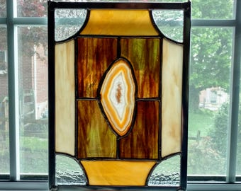Agate Geode Stained Glass Window Panel - Earth Tones - Brown and Gold - Geometric Art - Rustic Decor - Housewarming Gift - Boho Decor