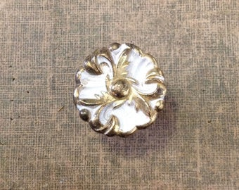 """Vintage 1.25"""" cabinet door drawer pull knob whitewashed brass hardware salvage French provencial retro chic home decor improvement"""