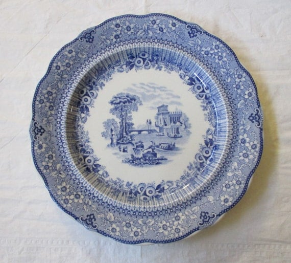 "Wood & Sons THE HERMITAGE 10.25"" Blue Dinner Plate, Reproduction of Andrew Jackson's Service, c. 1930s"
