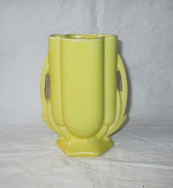 """5.5"""" McCoy Bright Yellow Vase #105, c. 1940s, Arched Handles, Scalloped Sides"""