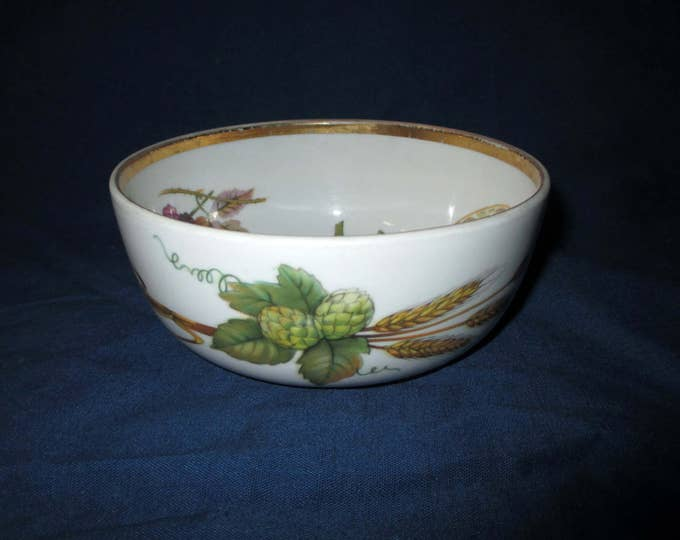 "Royal Worcester EVESHAM Gold Trim Porcelain Individual 5-3/8"" Salad Bowl, Corn (c. 1980s)"