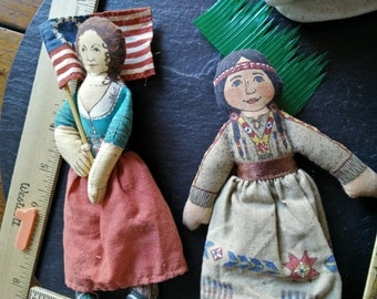 1 Betsy Ross or Indian Maiden Collectible Doll Boxed Toy vintage Hallmark Famous Native American fabric cloth doll July4 birthday gift