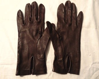 Ladies Brown Leather Gloves Unlined