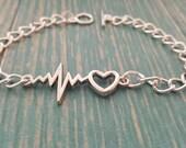 Congenital Heart Defect (CHD) Awareness - Heartbeat with Heart Toggle Bracelet - CHD Awareness