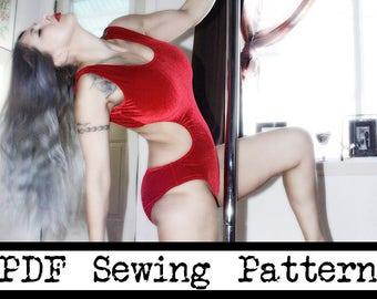 Cutout Leotard, Bodysuit, Pole Dancing, 70sRetro, Vintage, Ballet, Swimsuit, Gymnastic, Active, PDF Pattern, Yoga, Fitness, Multi size