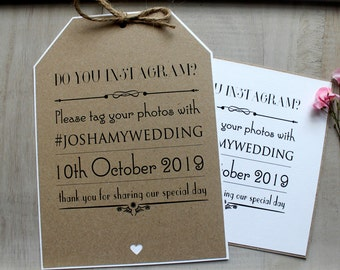 Wedding Do You Instagram Sign Luggage Tag Favour Decorations Vintage/Shabby Chic