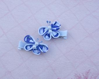 Purple, White Kanzashi Butterfly Alligator Clip