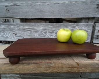 Black walnut cutting board - Raised cutting board - Walnut cake stand - Gifts for her - Cutting board - Kitchen art, Footed cutting board
