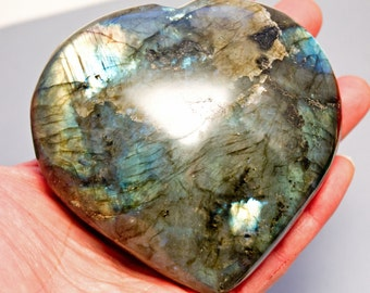 Sale! Labradorite Heart Crystal Puffy Heart Specimen Giant Sized! 108mm 565g 4 1/4 inches