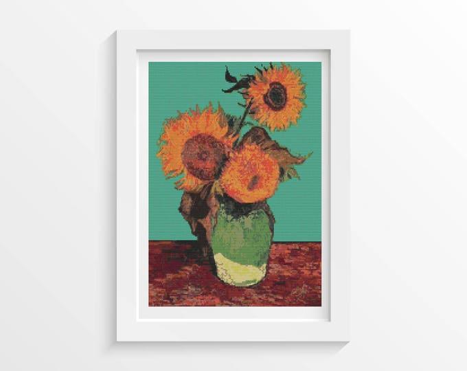 Cross Stitch Pattern PDF, Embroidery Chart, Art Cross Stitch, Floral Cross Stitch, Vase with Three Sunflowers by Vincent Van Gogh (VGOGH14)