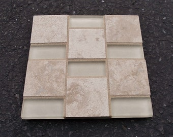 "Tan Champagne Glass Marble Porcelain Mosaic Tile Trivet 6"" x 6"""