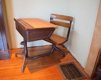 Vintage School Desk Wood and Metal