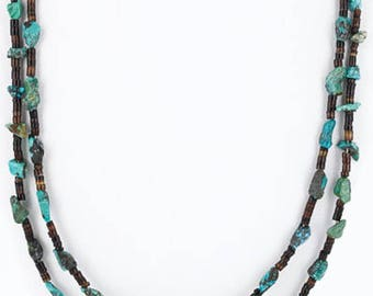 380 retail tag authentic 2 strand charlene little navajo .925 sterling silver and spider web turquoise native american necklace 15867-3