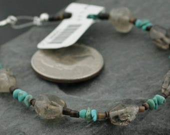 80 Retail Tag Authentic Charlene Little Navajo .925 Sterling Silver Natural Turquoise and Smoky Quartz Native American Bracelet 390732433970