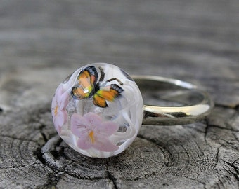 Lampwork Ring Butterfly and flowers, Lampwork bead Ring, Lampwork Flower Ring, Lampwork Ring, Ring, Lampwork Beads, Lampwork Ring Jewelry