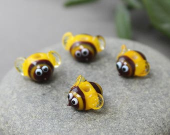 Lampwork Bee Beads, Set 3 Glass Bee Beads, Insect Beads, Bumble Bee