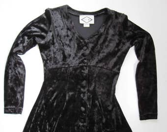 Vintage Velour Black Mini Dress