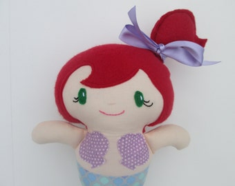 Mermaid Soft Doll, Red hair with purple scalloped outfit, Ready to Ship, Baby's first doll, mermaid softie, mermaid doll, the little mermaid