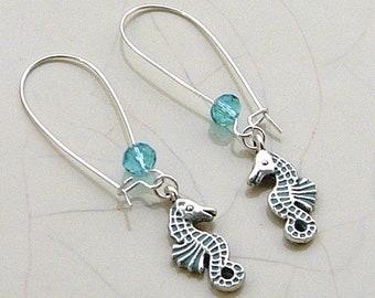 Seahorse Kidney Wire Earrings, Silver Seahorse Earrings, Sea Green Czech Crystal, Nautical Ocean Beach, Cruise Earrings.