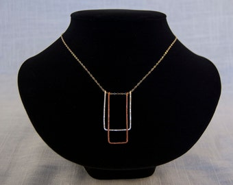 Double Rectangle Gold Chain Necklace