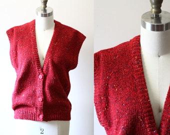 1980s fuchsia knit vest // boho vest // Vintage Tops