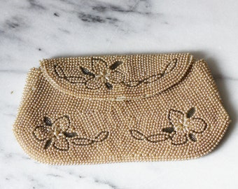 1950s floral beaded clutch // wedding clutch // vintage purse