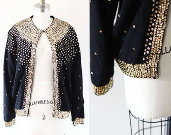 1960s gold and black sequin cardigan // 1960s cleopatra sweater // vintage sweater