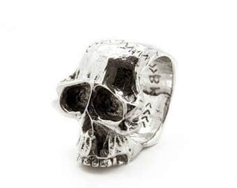Heavy Totem Skull Ring | Chunky Solid Biker Sideways Skull Detailed Eyes and Teeth | Made in U.S.A. Jewelry - JC233-027