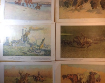 Remington and Reuterdahl Prints from Collier's, set of 6