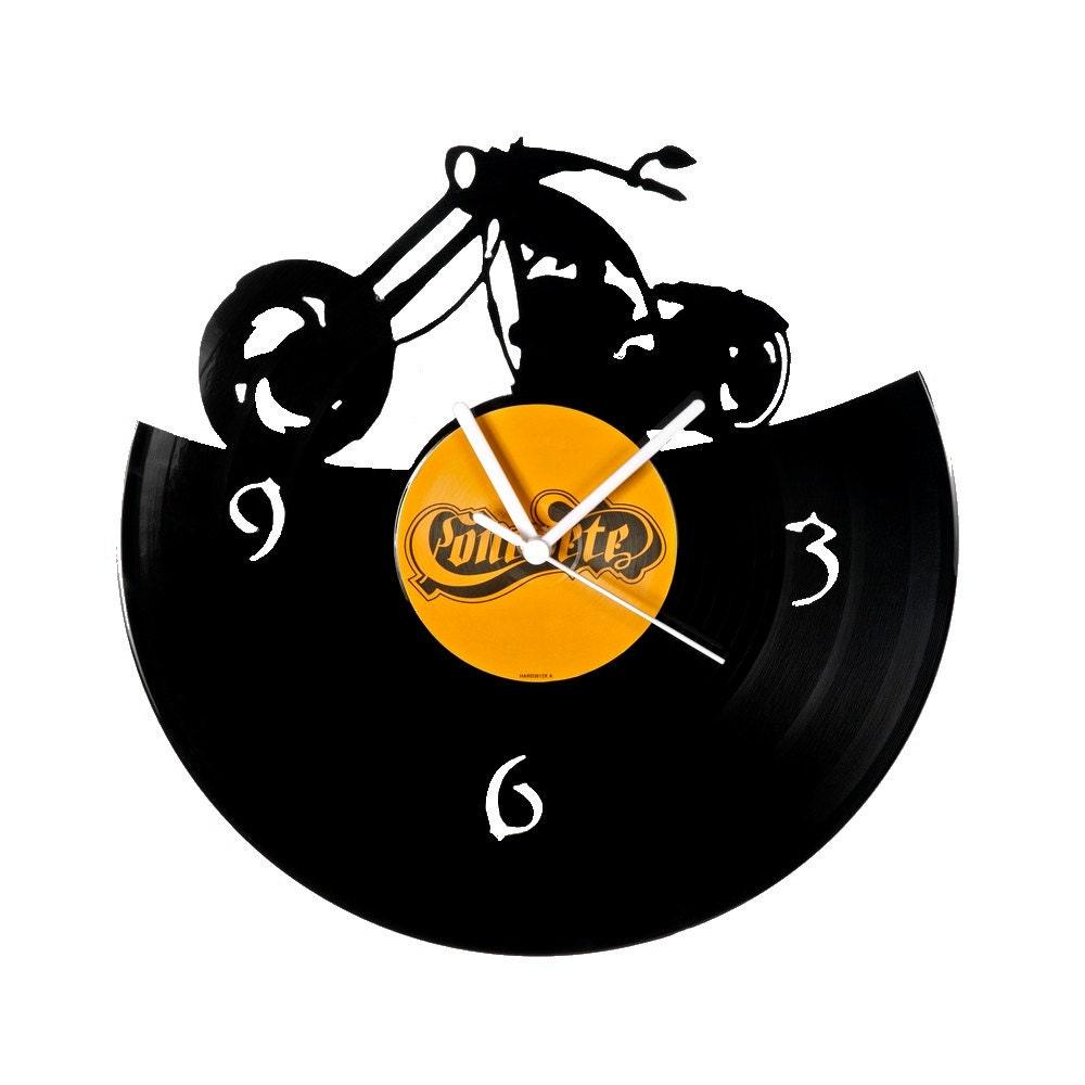 Vinyl Clock Chopper Motorcycle