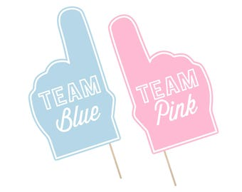 Printable Gender Reveal Photo Booth Props . Gender Reveal . Team Blue/Team Pink . It's A Boy/Girl . Fan Foam Finger . Instant Download