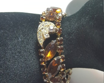 Sale Vintage Root beer Rhinestone  Prong Set Bracelet