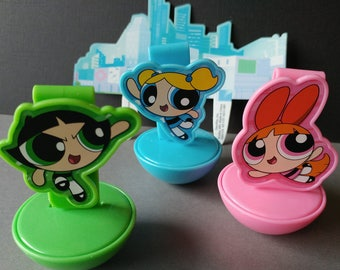 The POWERPUFF GIRLS Cake Topper cupcake rings picks perfect birthday party treat bag favors Blossom Bubbles Buttercup Townsville Cartoon