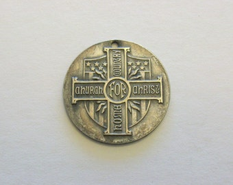 WWII Soldiers and Sailors Welfare.  Pewter token coin medal.  Lutheran Church.