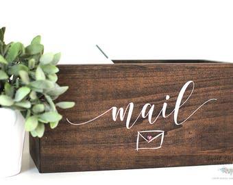 Mail Organizer | Mail Holder | Rustic Wooden Mail Holder | Wood Mail Holder | Personalized Gift | Rustic Office Storage Box - WS-194
