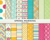 75% OFF SALE Spring Morning Patterns Pastel Digital Paper -  Personal and Commercial Use - Instant Download  Cardstock G7367