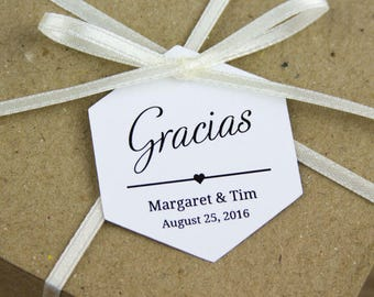 Gracias Tags - Thank You tags - Spanish Wedding - Wedding Favors - Wedding Favor Tags - Destination Wedding - Hexagon Tags - Hex Tags