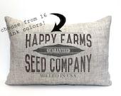 "grain sack pillow, farmhouse pillow, farmhouse decor, rustic pillow, rustic decor, ""The Happy Farms"""