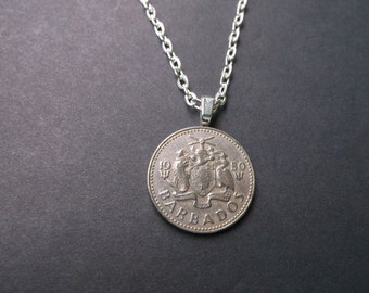 Barbados Twenty Five Cent Coin Necklace - 1980 Barbados Coin Pendant