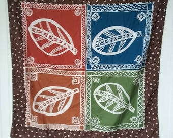 Boho scarf, vintage, large, square, earthy, ethnic, tribal, festival clothing, festival scarf, 34X35, scarf top, Acute