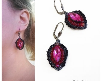 Pink red black beaded earrings, horse eye light earrings, sparkly earrings, Black Beadwoven, multicolored jewelry, Lightweight earring