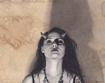 16x20 Inch Matted Print of Original Charcoal Drawing of Horned Sexy Demon Woman