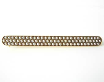 Victorian 14K Gold Bar Brooch Encrusted With Seed Pearls