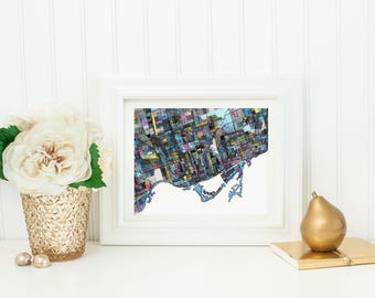 Abstract Map Print of Toronto, ON
