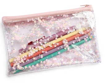 Pink star / Pencil case, Transparent wallet, Clear bag, Purse organizer, glitter bag, cosmetic bag