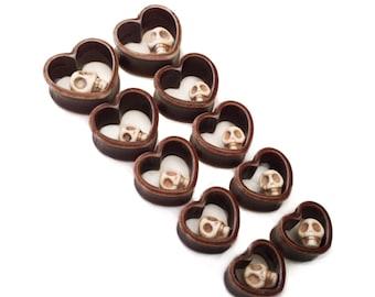 Brown Skull Heart Ear Tunnels