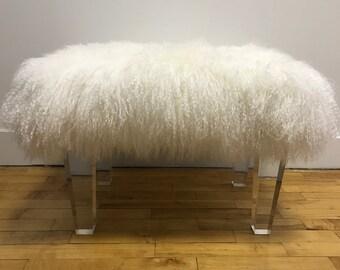 NEW! Sheepskin Lamb Lucite Bench - Ottoman - Lucite legs - Lucite furniture
